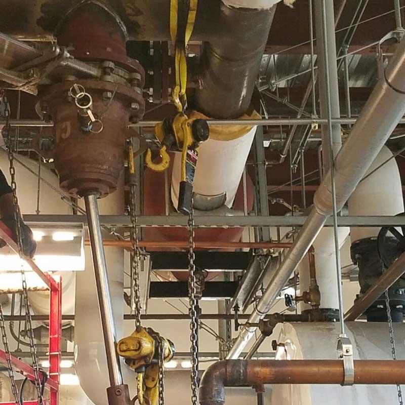 """Mercy Hospital 8"""" Linestop on Sch. 40 Carbon Steel Steam Condensation line Under 100 psi"""