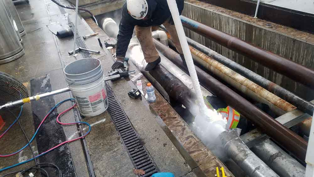 """8"""" Pipe FreezePlug on Sch. 40 Steel Water System pipeline Under 100 psi"""
