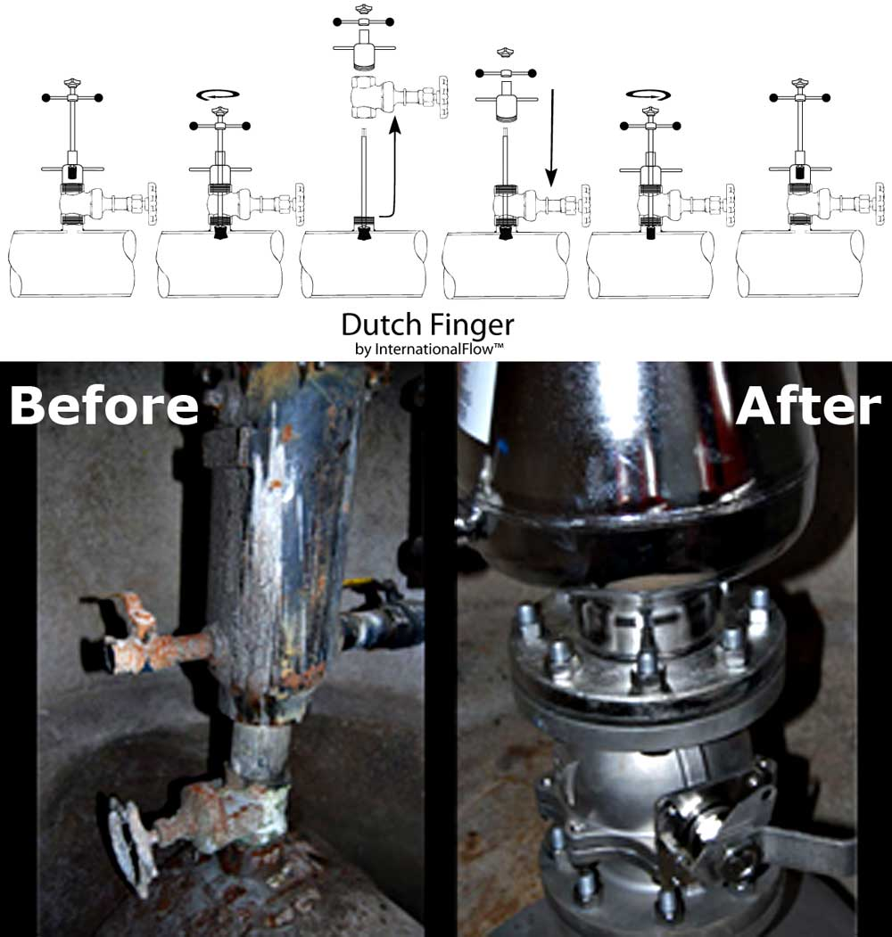 Dutch Finger Air Valve Replacement Tools Before and After an Installation