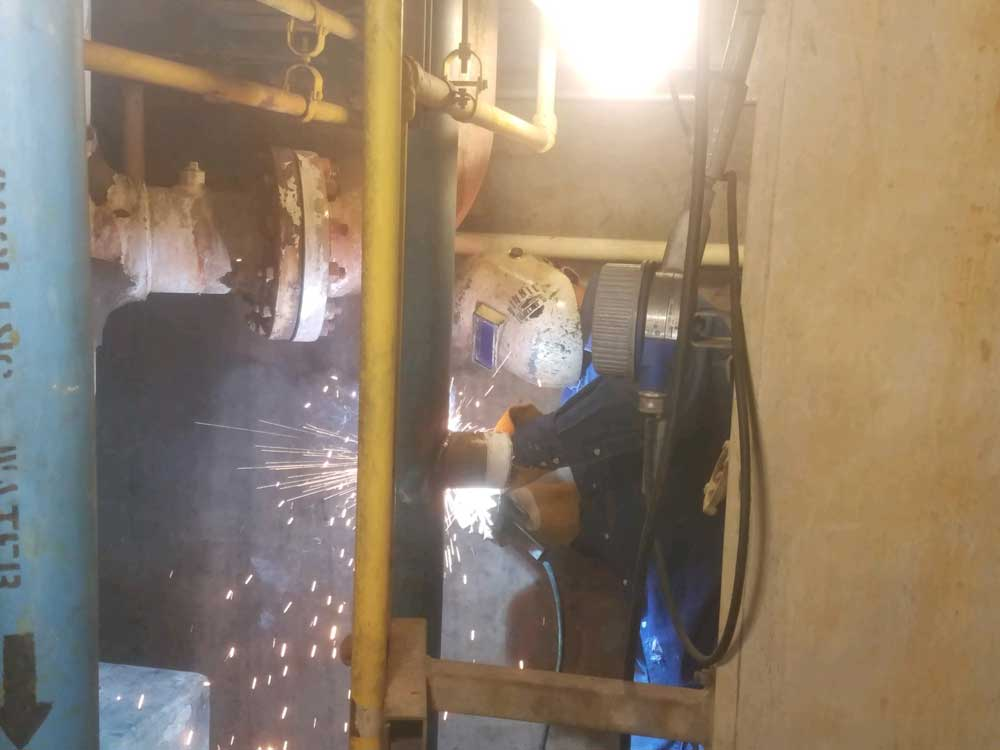 "Welding 3"" Linestop Fittings for Los Angeles County Sanitation on Steel in Carson"
