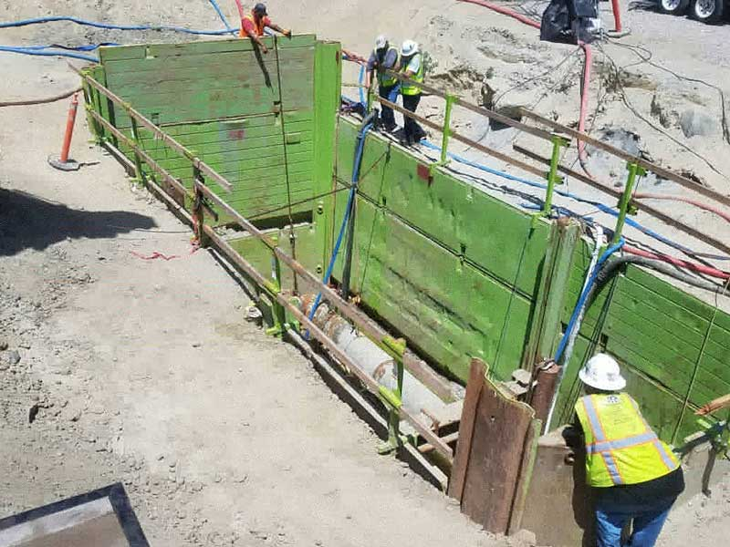 "Two 30"" Linestops on AC Sewer Outfall Pipeline Worksite"