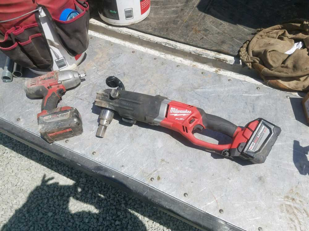 "Wireless 2lbin.com tapping machine hole hog used to perform the 6"" Hot tap on 8"" C900 Water Pipeline at Coronado Island, CA"