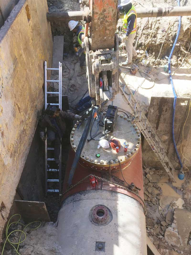 "72"" Linestop Fitting Wrap On Steel Water Main Houston, Texas"