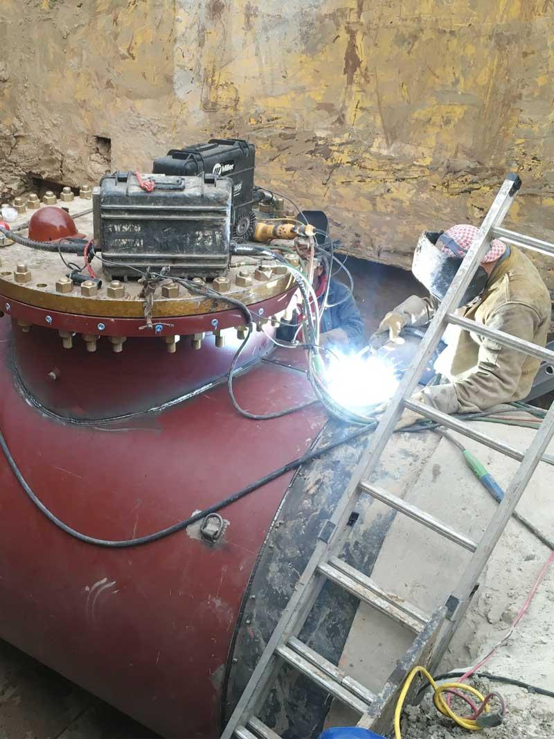 """72"""" Linestop Pipeline Welding Fitting Wrap On Steel Water Main Houston, Texas."""