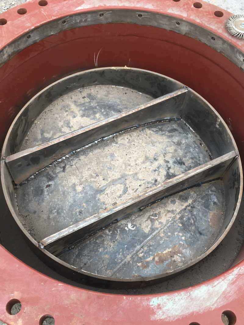 "72"" Linestop Hottap Coupon Prep On Steel Water Pipe Houston, Texas."