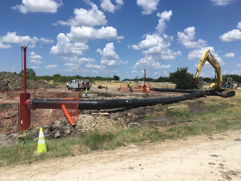 """2-  30"""" Linestops on PCCP Water Main with By Pass in Corsicana, Texas Side View"""