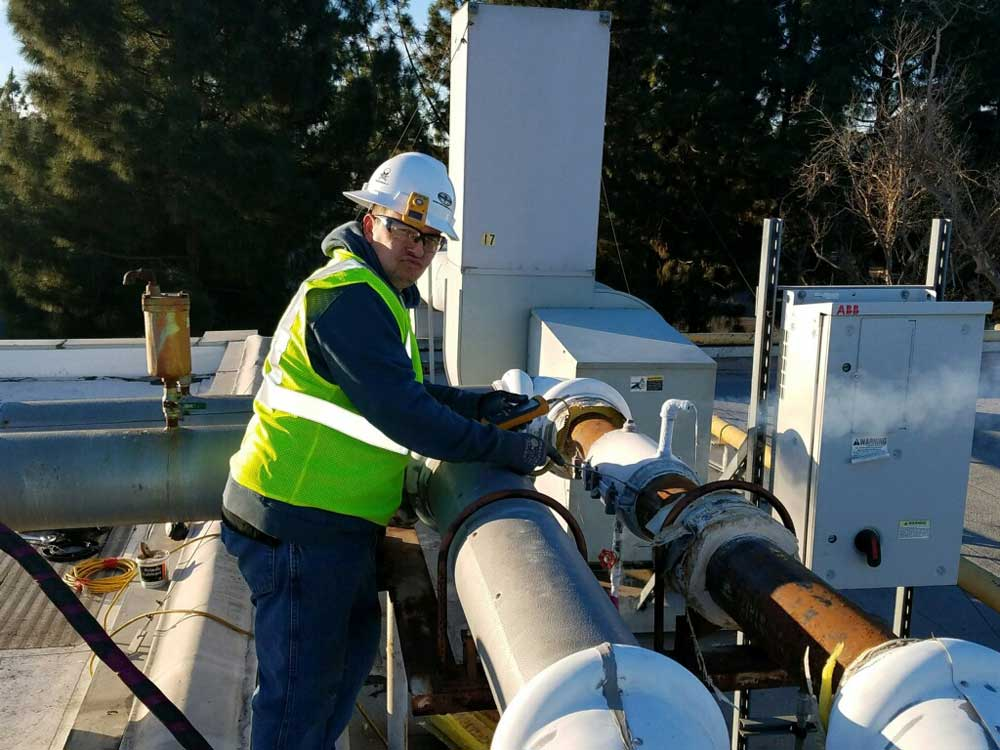 In Escondido, California pipe freezing on the roof of cooling systems are common.