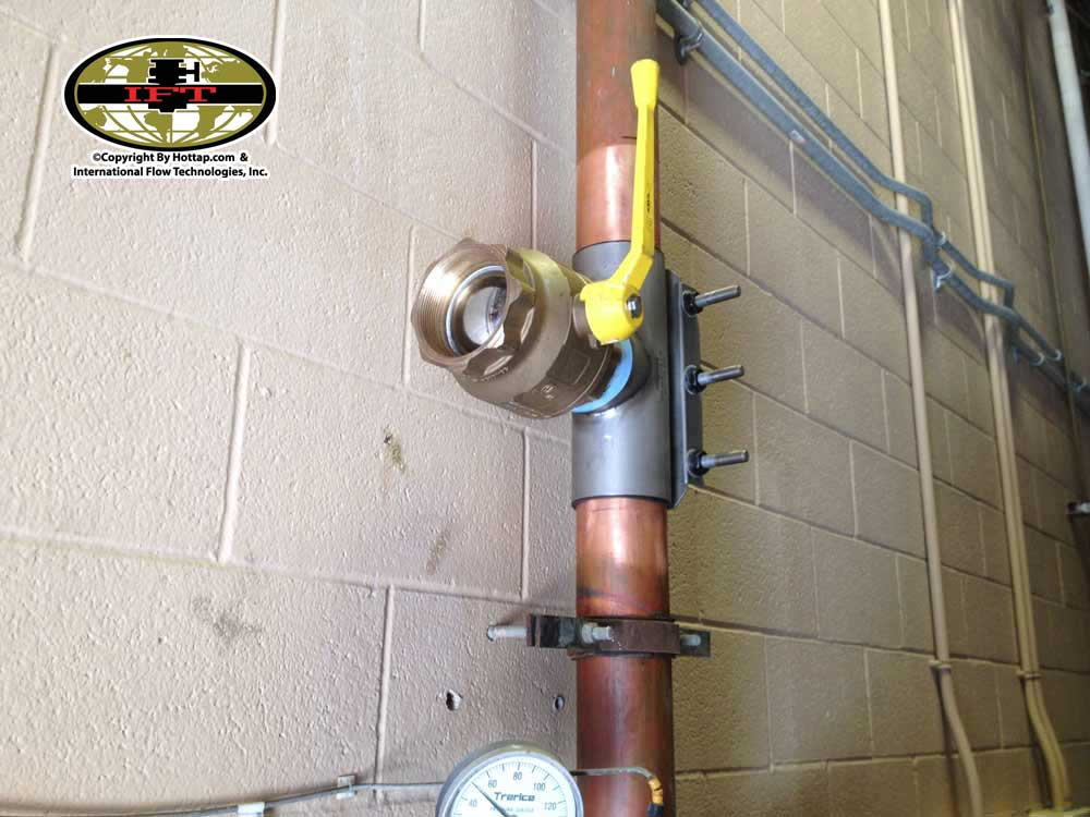 6inch Copper Pipe Hottap Services with a threaded Anvil Full Port Ball Valve