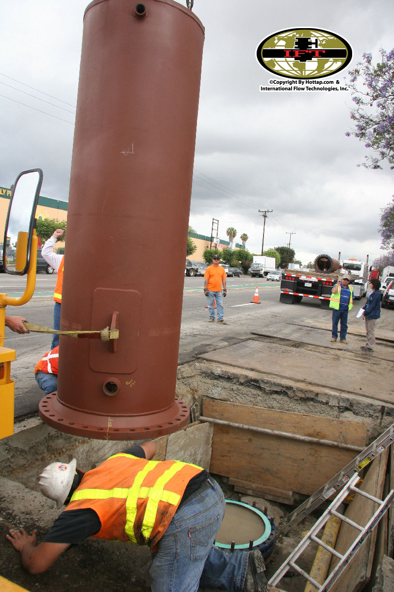 Emergency Linestop of two 54inch steel concrete pipe at 150 PSI in Carson, California.
